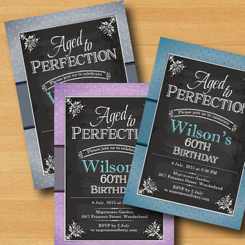chalkboard birthday invitation, Aged to Perfection, Chalkboard Party Invitation for any age vintage three colors to choose from  - card 328