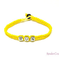Yellow Run Bracelet, Macrame Hemp Jewelry for Runners, Fitness Motivation