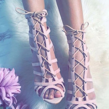 Green pink suede leather lace up sandals sexy open toe cross strap shoes high quality stiletto heel women sandals drop ship