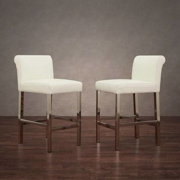 Strick & Bolton Cosmopolitan Stainless Steel White Snake Leather Counter Stools (Set of 2) | Overstock.com Shopping - The Best Deals on Bar Stools