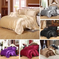 Super Luxury Satin Silk Bedding Set Duvet Cover Bed Sheet Pillowcases 4pcs(NO Comforter)