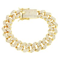 Custom 15mm Iced Out Lock 14k Gold Finish Cuban Bracelet