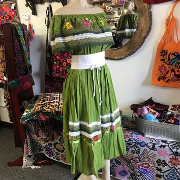 Mexican Campesina Dress Green