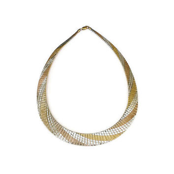 Italy UTC Necklace Sterling Yellow Rose Gold Plated Herringbone Chain Vintage Jewelry