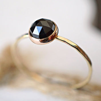 Spinel Ring, Stacking Ring, 14k Gold Ring, Rose cut ring, Gemstone Ring, Black Spinel Ring, Engagement Ring, Birthday Gift, Dainty Gold Ring