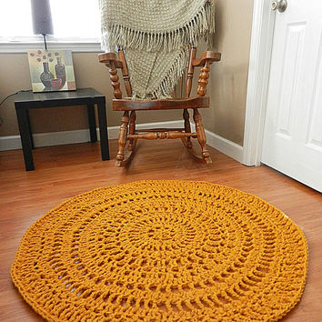 Gold Lace Crochet Doily rug, Geometric Rug, Area rug, Mustard carpet floor mat nursery rug, living room rug, bedroom rug round boho chic rug
