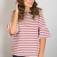 Anchors Away Striped Top - Red