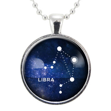 Libra Zodiac Necklace, Constellation Jewelry, Astrology Star Sign Pendant