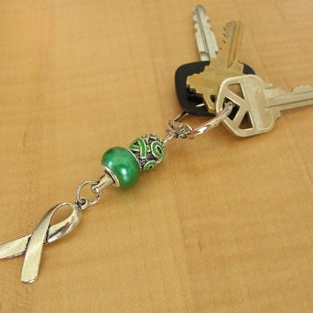 Green Awareness Key Chain - Cerebral Palsy, Glaucoma, Kidney Disease, Liver Cancer & More