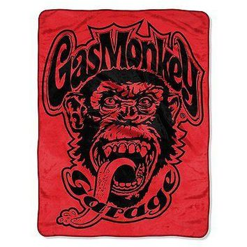 Gas Monkey Garage Red Logo 46x60 Micro Raschel Plush Throw FREE US SHIPPING