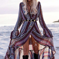 Gray and Purple Bohemian Printed Long Sleeve Front Slit Sexy Maxi Dress