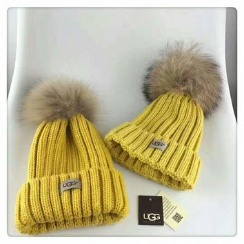 PEAPJ1A UGG Autumn and winter leisure wild knit hair ball wool cap parent-child cap Yellow