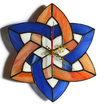 Celtic Wall clock made of stained glass - Uncommon, modern and unique wall decor in deep blue and orange
