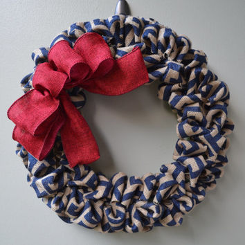 Red and Blue Burlap Wreath -  Independence Day Wreath - Fourth of July - Red Wreath  - Blue Wreath -Summer Wreath - Pattern Wreath