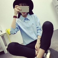 2017 Summer Autumn Women Casual Work Wear Blouse Long Sleeve Shirt Young Lady Office White Blouses  Tops