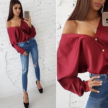 Spring Tops 2019 Fashion Solid Sexy Deep V-neck Off Shoulder Long Sleeved Blouse Casual Button Loose Bat Sleeve Party Shirts