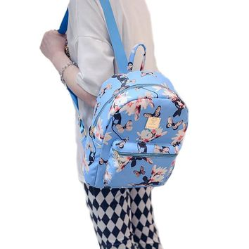 Women Cute School Bags Backpack Mini Fashion Back Pack Floral Printing Small PU Leather Backpack For Teenagers Girls DF501
