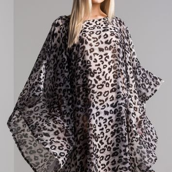 AKIRA Cold Shoulder Kimono Sleeve Leopard Print Semi Sheer Midi Dress in White Cheetah
