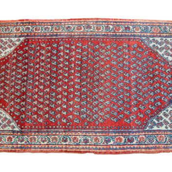 2x4 Small Red Mir Sarouk Vintage Rug