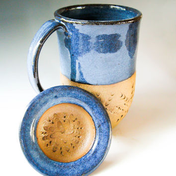 Handcarved Ceramic Coffee Mug with Lid in Denim Blue, Mug with Cover