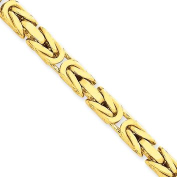 5.25mm, 14k Yellow Gold, Solid Byzantine Chain Necklace, 20 Inch