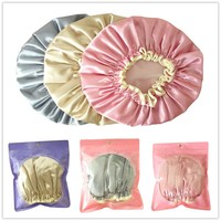High Quality Double Waterproof Shower Cap Dust Cap Cosmetic Care cap Elastic Band Hat Bath Cap for Bathroom Supplies E0