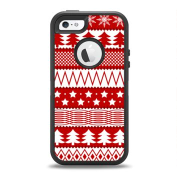 The Red and White Christmas Pattern Apple iPhone 5-5s Otterbox Defender Case Skin Set
