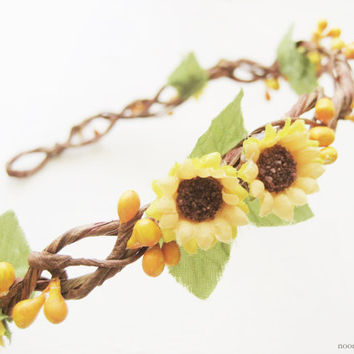 Sunflower Flower Crown, Floral Headpiece, Wildflower Wreath, Rustic Headband, Woodland Hair Accessories, Country, Farm, Summer, Yellow