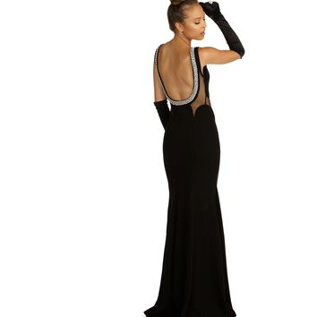 Tamara Black Beaded Back Prom Dress