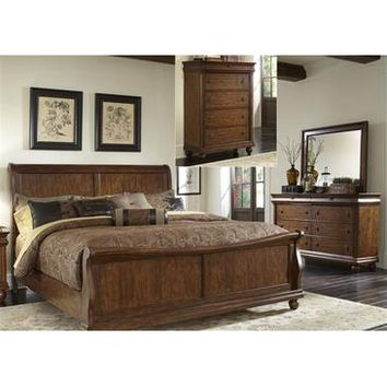Liberty Furniture Rustic Traditions Sleigh Bed & Dresser & Mirror & Chest in Rustic Cherry Finish