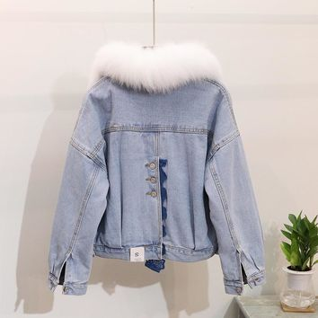 2018 Autumn Winter Denim Jacket Woman New Back Fork Chic Real Natural Fox Fur Collar Warm Cotton-padded Short Denim Jackets