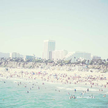 Santa Monica Beach Photography Ocean Waves Los Angeles California Photo Summer Wall Art Nursery Decor blue Teal Mint