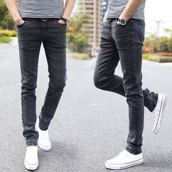 CHOLYL Designer Styles Brand Fashion Elastic Casual Straight Skinny Slim Fitted Jeans Pants Tapered High Waist Jean for Men