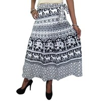 Mogul Women's Wrap Around Skirt White Block Printed Cotton Indian Wrap Dress Skirts - Walmart.com