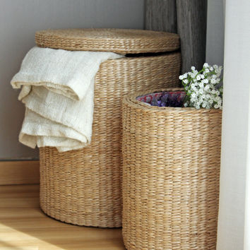 Special offer: Handwoven round storage baskets/laundry basket/straw basket/Footstool/wedding gift/Utility Basket/GrasShanghai