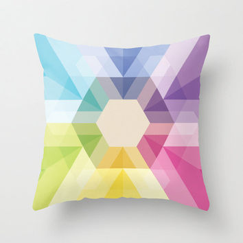 "20""x20"" Colorful Geometric Triangle & Hexagon Throw Pillow Fig. 025 COVER ONLY"