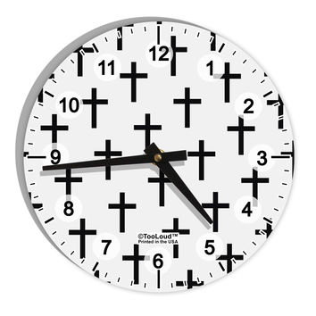 "Christian Crosses 8"" Round Wall Clock with Numbers All Over Print"