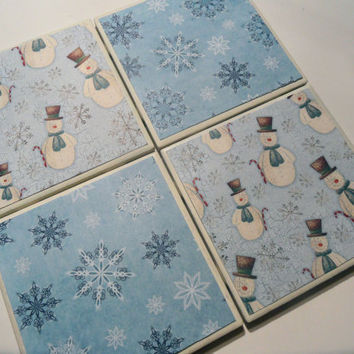 Snowmen and Snowflakes Ceramic Coasters - set of 4 - Winter Decor