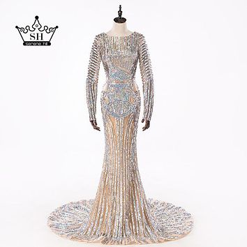 2017 Luxury Long Sleeve Sequined Mermaid Evening Dresses Backless Dubai Arabic Robe De Soiree Long Party Gown 100%  Real Picture