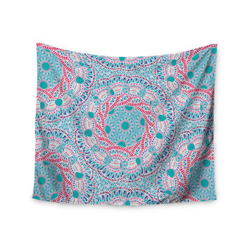 "Miranda Mol ""Prismatic White"" Blue Pink Abstract Wall Tapestry"