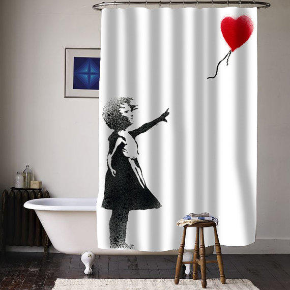 Girl Banksy Balloon Special Custom Shower From Curtainasu On Etsy