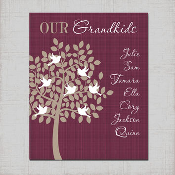 Grandparent Family Tree Wall Art, CANVAS or Prints Grandkids TREE Personalized Kids Children Names, Custom Grandma Gift Grandpa Gift