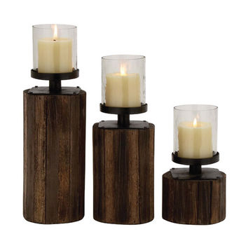 Woodland Imports 3 Piece Classy Wood Glass Metal Candle Holder Set