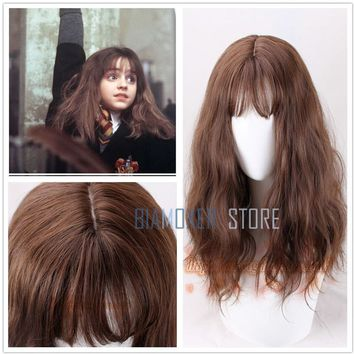 Cool Biamoxer Movie Harry Potter Hermione Jean Granger Brown Wavy Curly Synthetic Hair Cosplay Costume Wigs + Wig CapAT_93_12