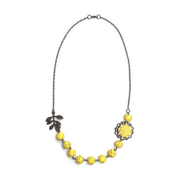 Yellow statement necklace, yellow bib necklace with leaf and flower charm