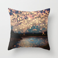 Under A Wish Lanterns Sky  Throw Pillow by Belle13 | Society6