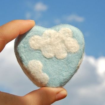 Felted Soap Blue Heart with White Clouds (Lavender Scent)