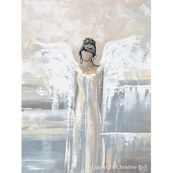 """Bringing Peace and Love"" GICLEE PRINT Abstract Angel Painting Elegant Guardian Angel Cream White"