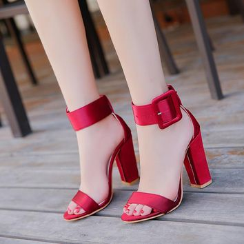 Woman Sandals Ankle Strap Buckle Pumps Women High Square Heels Shoes Peep Toe Summer Feminino Gladiator Sandals