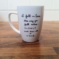 personalized quote mug / coffee cup , personalized mug , coffee mug - the fault in our stars - john green quote